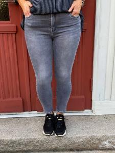 Jeans med gylf  och knapp, grå stretch - Mix by Heart