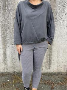 Sweatshirt med halvpolo, grå - Mix by Heart