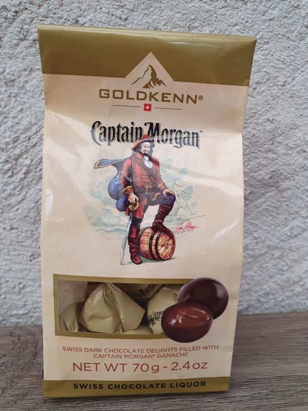 Captain Morgan - Praliner av mörk choklad, fyllda med ganache