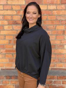 Sweatshirt med halvpolo, svart - Mix by Heart