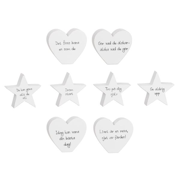 Hjärta eller stjärna med text/budskap