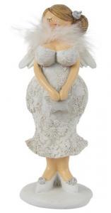 Kurvig dam med vingar, spetsklänning  & fjäderboa (Håret uppsatt i ena sidan) - Ib Laursen