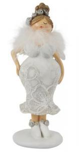 Kurvig dam med vingar, spetsklänning  & fjäderboa (Håret uppsatt mitt uppe på huvudet) - Ib Laursen