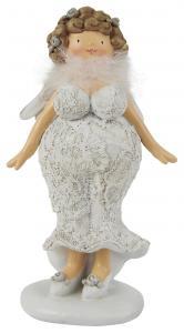 IB Laursen Kurvig dam med vingar, spetsklänning  & fjäderboa (Kort, lockigt hår)