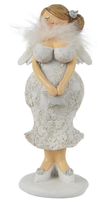 IB Laursen Kurvig dam med vingar, spetsklänning  & fjäderboa (Håret uppsatt i ena sidan)
