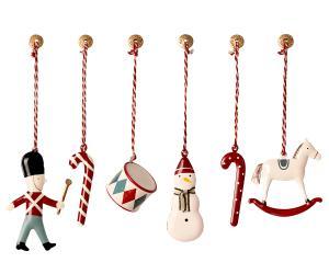 Julgranspynt i ask klassisk, 6 delar i rött - Maileg