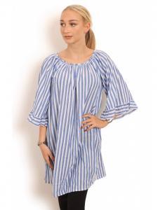 Randig klänning/tunika med trumpetärm, Vit/Ljusblå - Copenhagen Luxe