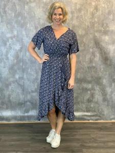 Marinblå småblommig klänning (Clara) - Mix by Heart
