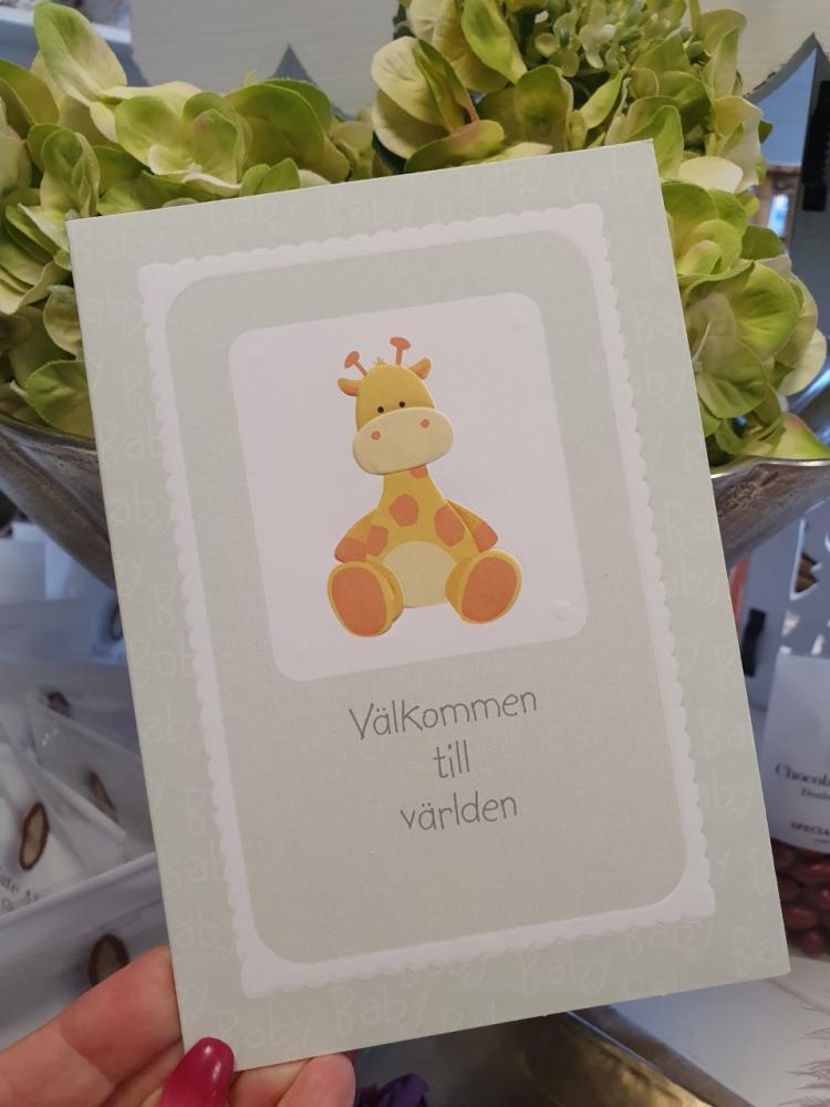 Välkommen till världen, Ljusgrönt med giraff - kort från Pictura