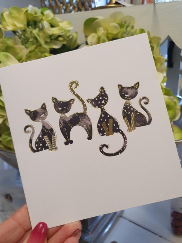 Kort med 4 katter från Pictura (svart/guld)