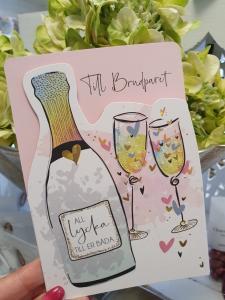 Till brudparet, kort från Pictura med flaska och champagneglas