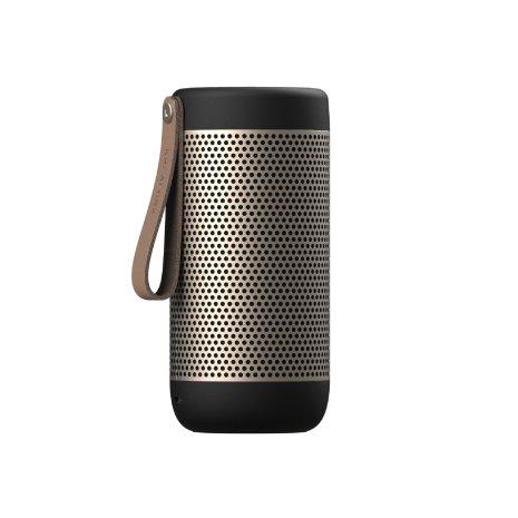 Svart guld  Bluetooth högtalare från Kreafunk. fungerar även som batteripack, går att koppla ihop två stycken