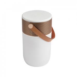 vit guld färgad Bluetooth högtalare med belysning från Kreafunk. fungerar även som batteripack