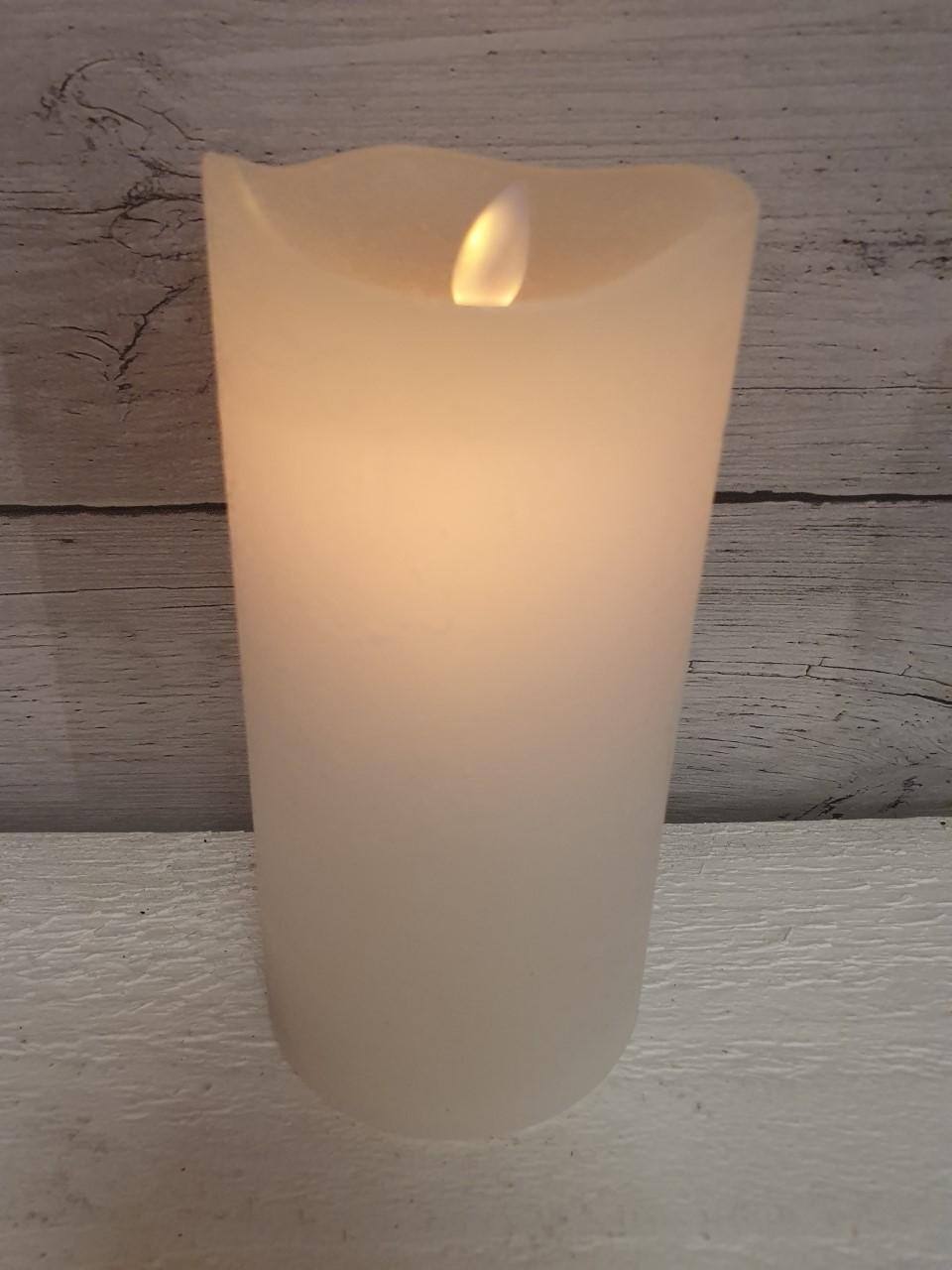 Blockljus LED, vit flammande låga (15 cm) - med timer