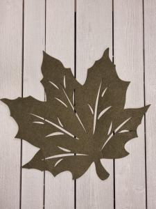 Löv i filtad känsla, Grön - 45 cm