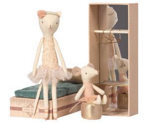 Skolåda med ballerina-katt och ballerina-mus  (Maileg)