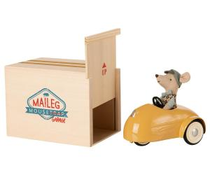 MOUSE CAR W. GARAGE - YELLOW (Maileg)