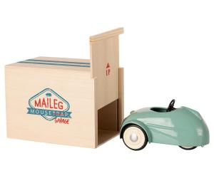 MOUSE CAR W. GARAGE - BLUE (Maileg)