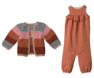 Maileg, Set med randig stickad kofta och matchande byxdress - size 5 till Bunny eller Rabbit