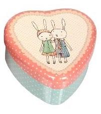 Maileg, Plåtburk hjärta (ljusblå/rosa)