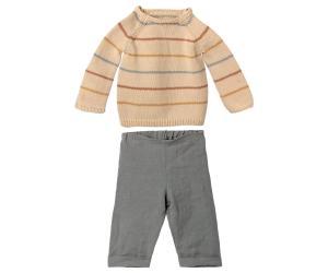 Maileg, Set med randig stickad tröja och snygga byxor - size 5 till Bunny eller Rabbit