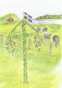 Dubbelvikt kort i akvarell - Majstång