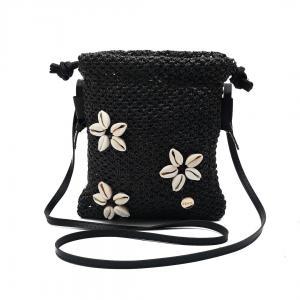 Svart väska med 3 blommor av snäckor, MALLORCA (Gemini)