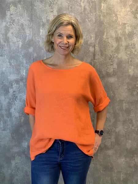 Blus i linnemix, orange (Mila) - Mix by Heart