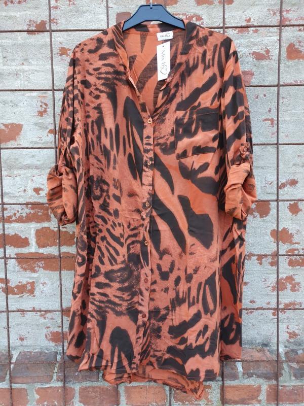 Långskjorta med animalprint, svart/tegel - Mix by Heart