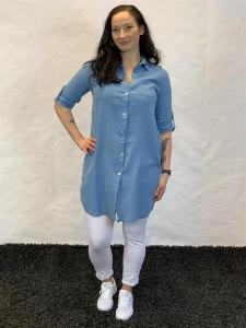 Långskjorta i linnemix, blå (Elicia) - Mix by Heart
