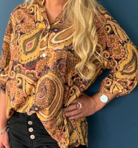 Blus, senap med paisleyprint - Mix by Heart