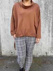 Sweatshirt med halvpolo, rost - Mix by Heart