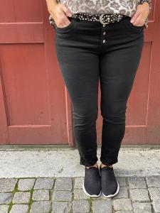 Jeans med knappar, Svart (Wilma) - Mix by Heart