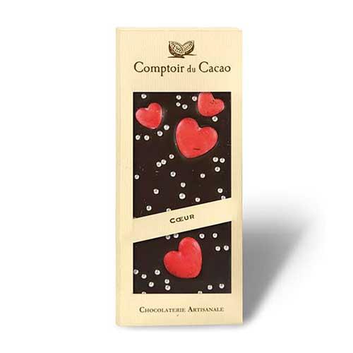 Mörk choklad (72%) med röda hjärtan och silverkulor