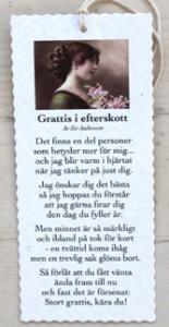 Diktkort - Grattis i efterskott