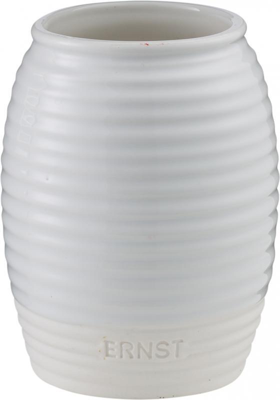 ERNST Vas i stengods, Vit med matt botten 11cm