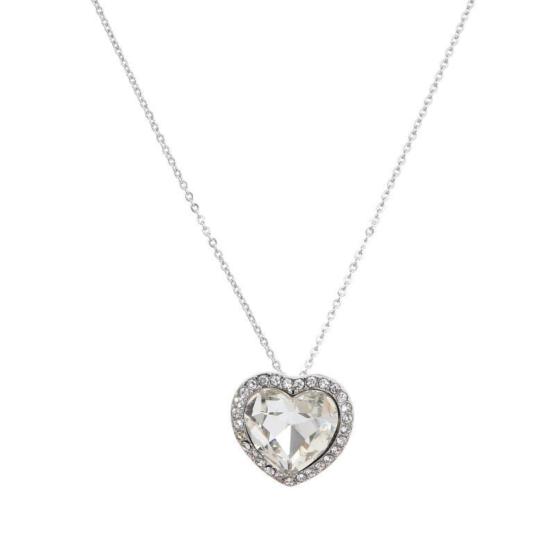 Gemini Halsband, Hjärta i strass med vit sten