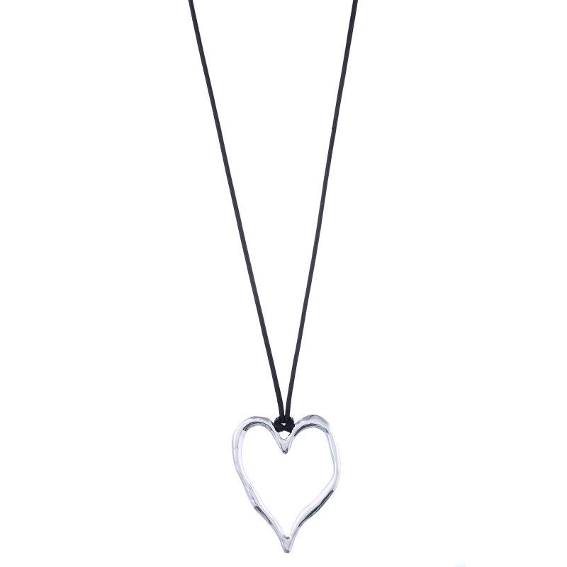Gemini Halsband, Silverfärgad hjärta med svart läderband (långt)