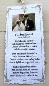 Diktkort - Till brudparet