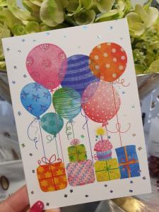Kort med paketer och ballonger, från Pictura