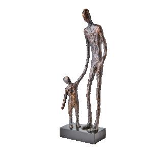 POSE Staty Man m Barn, Brons/svart - Affari