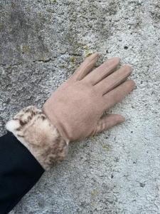 Handskar med fuskpäls, Taupe (Pia) - Mix by Heart