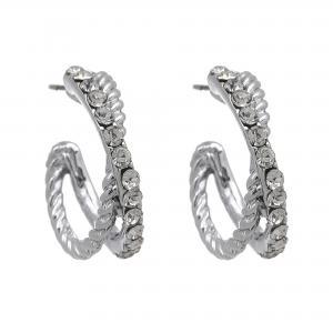 Silverfärgade örhängen, 2 ringar - Gemini