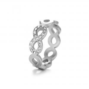 Silverfärgad ring, Evighetstecken med några glittriga strass-stenar (rostfritt stål) - Gemini