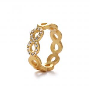 Guldfärgad ring, Evighetstecken med några glittriga strass-stenar (rostfritt stål) - Gemini