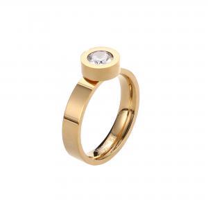 Guldfärgad ring med sten i Rostfritt stål - Gemini