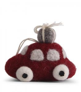 Tovad liten röd bil med julklapp på taket - En Gry & Sif