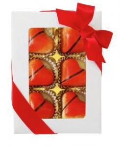 Ask med 6 chokladhjärtan, Rött satinband - Pralinhuset