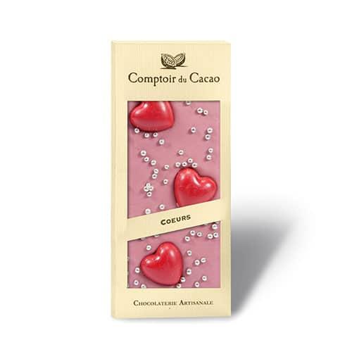 Ruby choklad med röda hjärtan och silverkulor