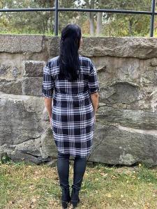 Svart/vit-rutig långskjorta i flanell - Mix by Heart